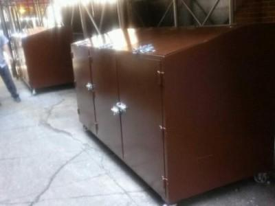 Custom steel garbage pail bins with lockable slide bolts