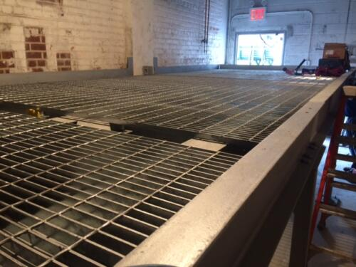 catwalk mezzanine for mechanical room with galvanized grating