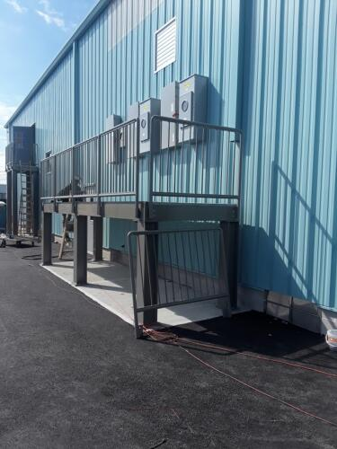 mechanical room catwalk with removable guard rails